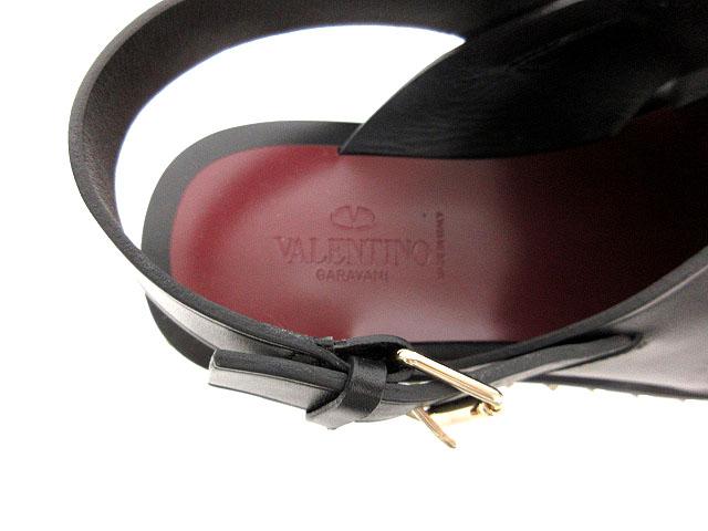 ヴァレンティノ ガラヴァーニ VALENTINO GARAVANI 美品 サンダル ソウル ロックスタッズ カウハイド レザー ラウンドトゥ 43 黒系 MY2S0959ACT R82 ※SK 170829 メンズ