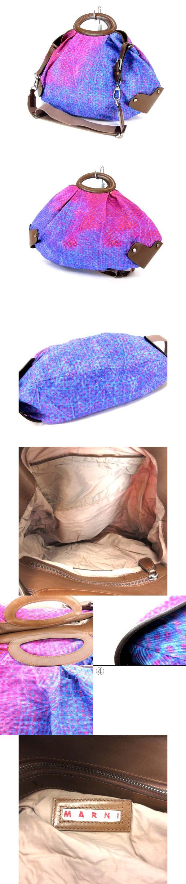 ショルダーバッグ ハンドバッグ 2way ファブリック レザー グラデーション 総柄 ピンク ブルー ※MH190321
