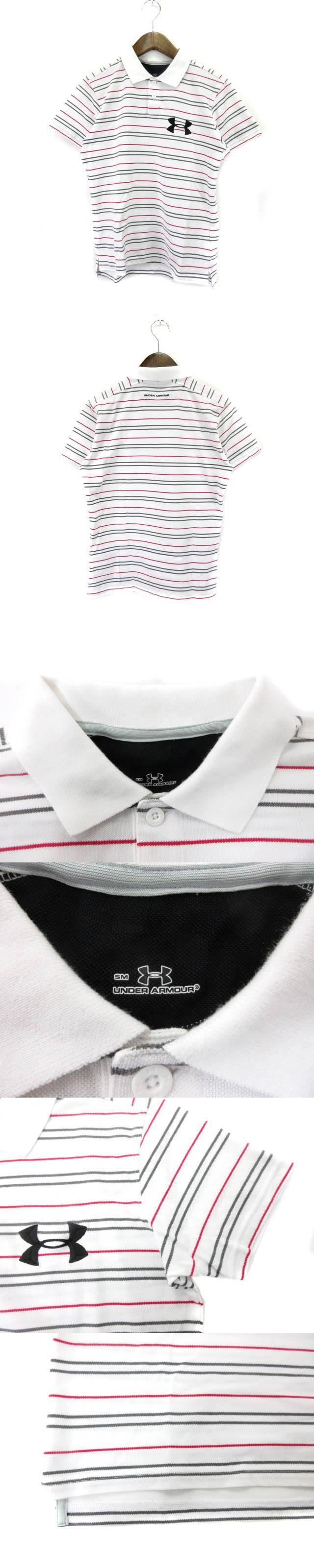 ポロシャツ 半袖 ボーダー ロゴ SM 白系 190323K