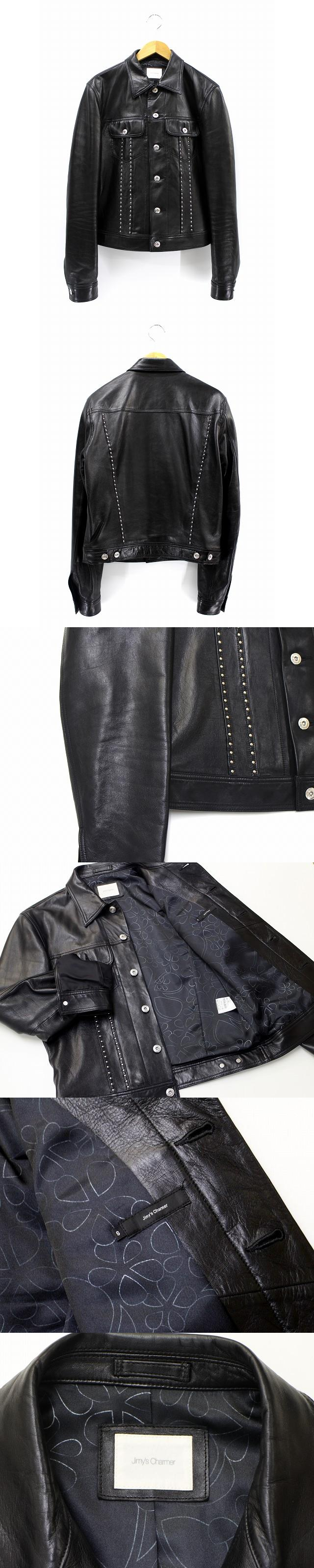 美品 ジミーズチャーマー Jimy's Charmer ベビーラム スタッズ レザージャケット S 黒 ブラック AJL-01001