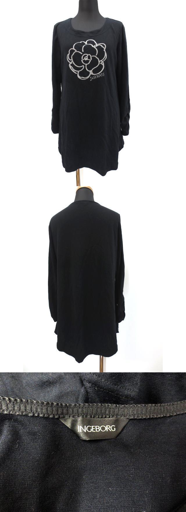 フラワープリント プルオーバー Tシャツ チュニック ワンピース 9 ブラック 春秋