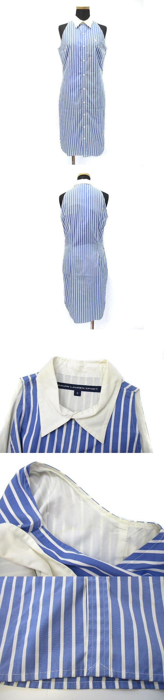 SPORT ポニー刺繍 ストライプ ノースリーブ シャツ ワンピース 9