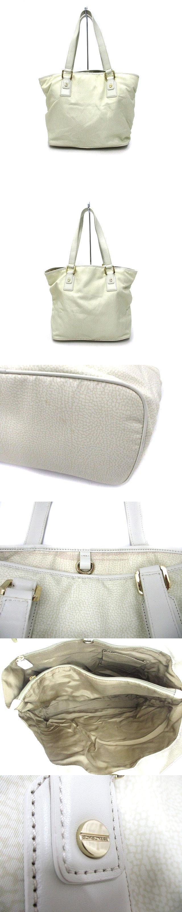 ナイロン × レザー トートバッグ 肩掛け ショルダーバッグ ベージュ