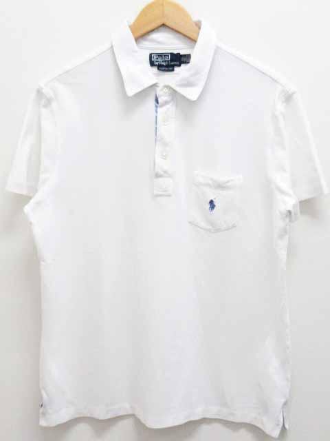 cc0b9c3707719 ポロ バイ ラルフローレン Polo by Ralph Lauren ポロシャツ カットソー 半袖 鹿の子 白 ホワイト XL カスタムフィット  ポケット ポニー 刺繍 ワンポイント メンズ