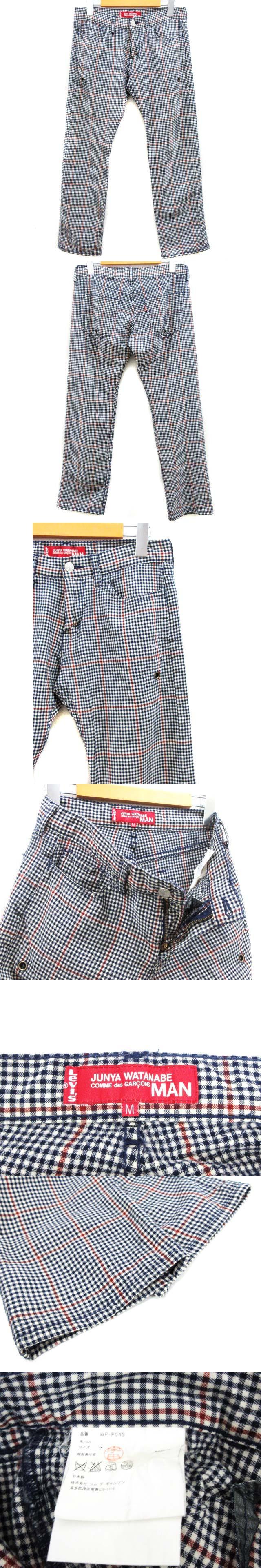 リーバイス Levi's 別注 コラボ パンツ 5ポケット チェック ギンガムチェック 紺 ネイビー 赤 レッド M ウール 日本製 ddd