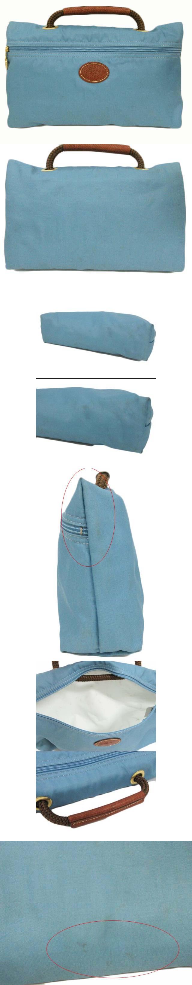 バッグ ハンド ナイロン ジップ 青 ブルー
