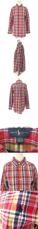 シャツ ブラウス 長袖 ボタンダウン チェック 刺繍 ポニー コットン 赤 レッド L 160