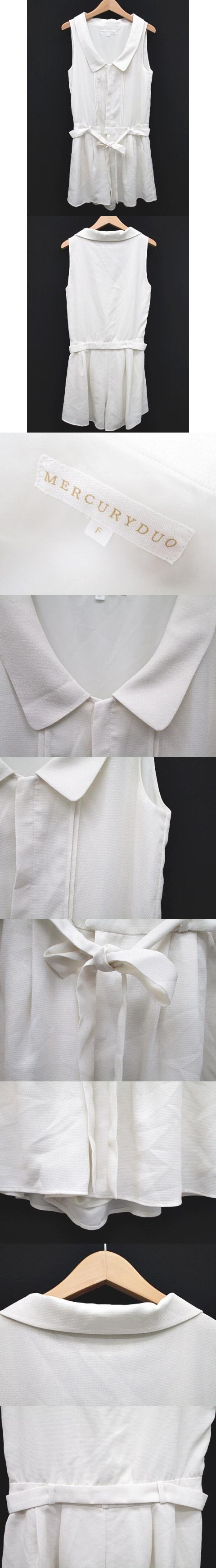 コンビネゾン オールインワン サロペットノースリーブ ショート パンツ リボン ホワイト 白 フリーサイズ F Y-180418