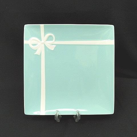 finest selection 10a2a 4769b ティファニー TIFFANY & CO. 2548 6013 ブルーボックス プレート ボーンチャイナ スクエア リボン 皿 食器 陶器  S-181031