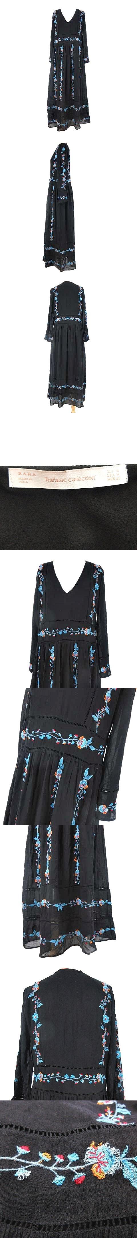 ワンピース ボヘミアン ロング マキシ 刺繍 長袖 ブラック 黒 M S-190620