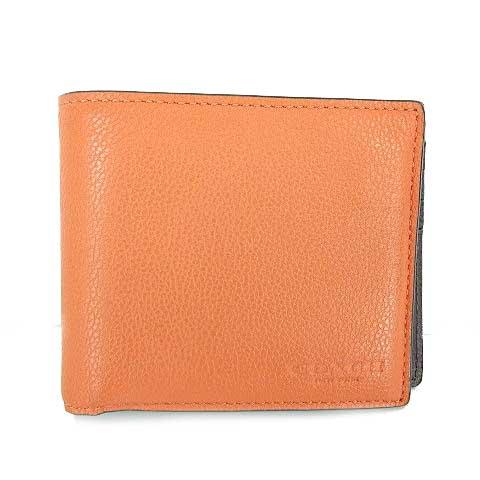 hot sales 13ff1 64861 コーチ COACH F86766 二つ折り 財布 札入れ カードケース ウォレット レザー オレンジ S-181004 メンズ レディース