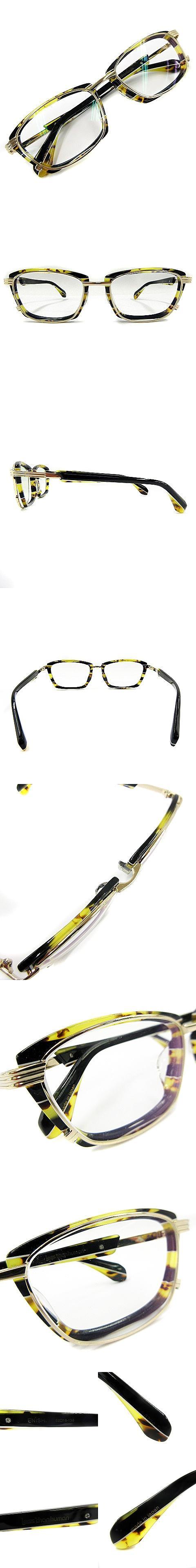 18SS 072S ENISHI エニシ メガネ フレーム 虎柄 眼鏡 マーブル コンビフレーム ゴールド 金 52□18-138