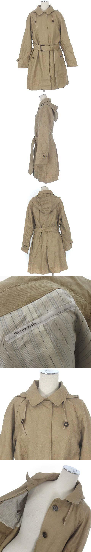 スピック&スパン コート ステンカラー ベルト フード付き コットン リネン 麻混 ベージュ 36