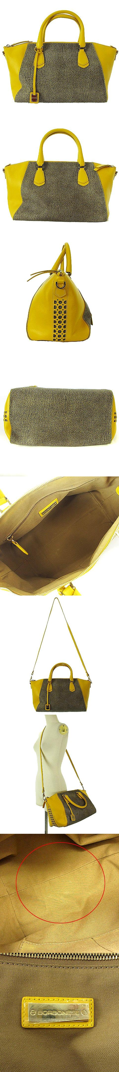 2WAY ハンド バッグ ショルダー うずら柄 レザー PVC 切替 イエロー ブラウン 黄 茶 かばん カバン 鞄