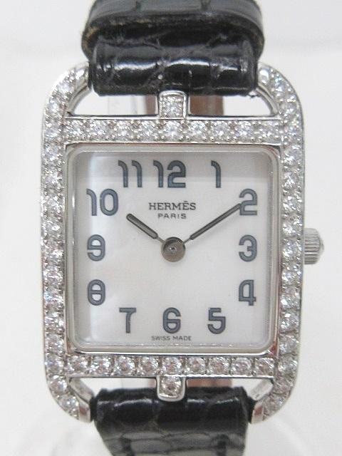 watch d5d38 a5c37 エルメス HERMES ケープコッド CC1.192 腕時計 革ベルト ダイヤモンドベゼル 750 K18WG ホワイトゴールド 黒 0328  レディース