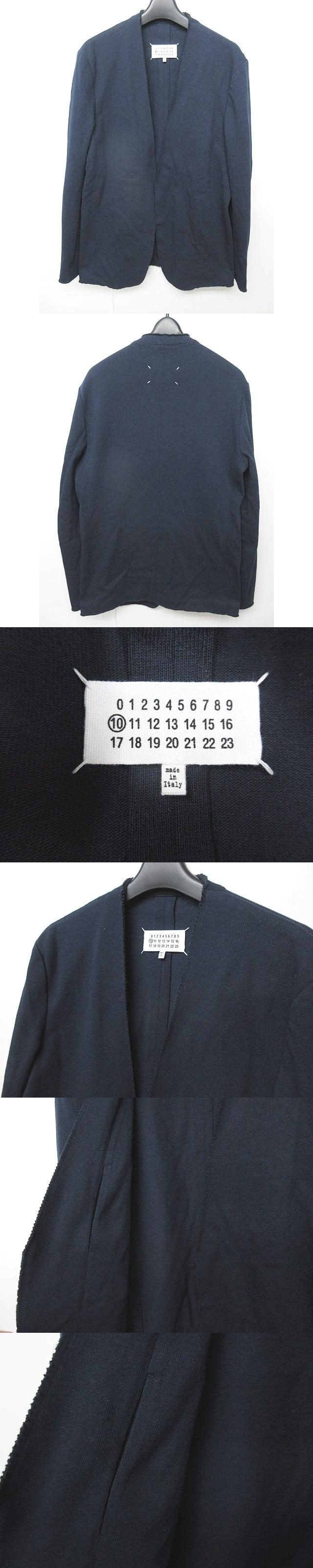 18SS ノーカラージャケット カーディガン カラーレス 紺 ネイビー 46 0426