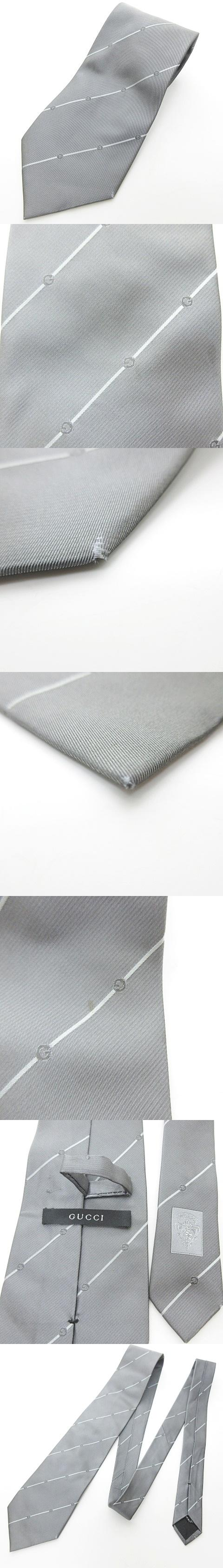 ネクタイ レジメンタルストライプ ロゴ ビジネス シルク グレー 灰 0607 IBS22