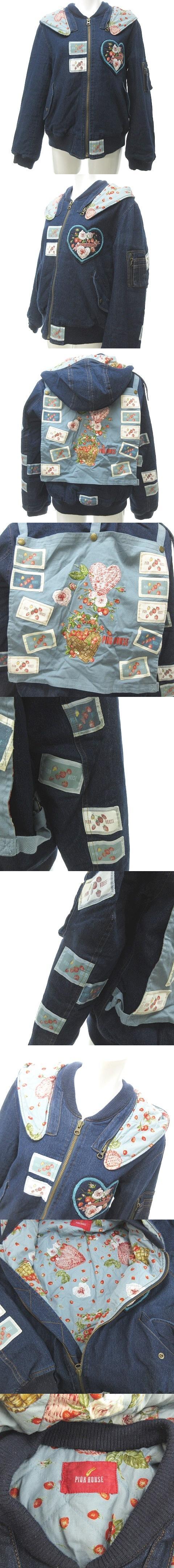 ブルゾン 中綿ジャケット MA-1 デニム ロゴ パッチ 刺繍 アップリケ イチゴ インディゴ メルローズ 0705 NST
