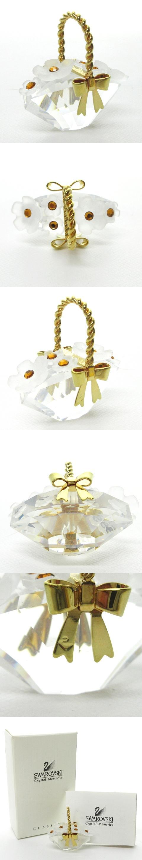 フィギュリン オブジェ クリスタルガラス フラワー 花 バスケット バッグ 置物 飾り物 クリア ゴールド NST 1110