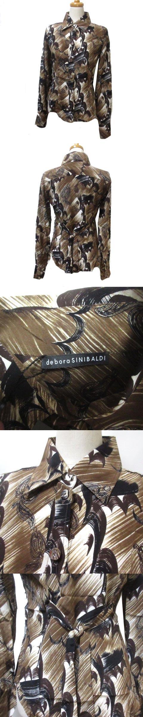 シャツ ブラウス 長袖 シルク 絹 総柄 茶 ブラウン 40 日本サイズM相当 ウエストリボン X