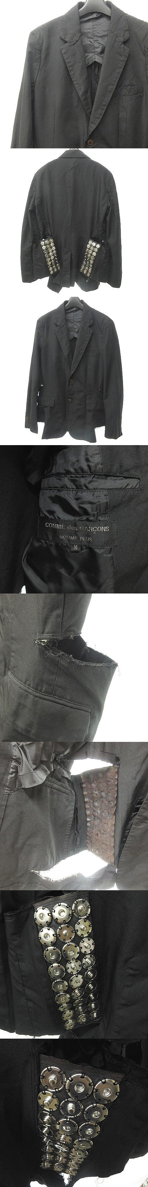 AD2015 ポリ縮絨 テーラードジャケット ブレザー スナップボタン 加工 2B 黒 ブラック M 0628