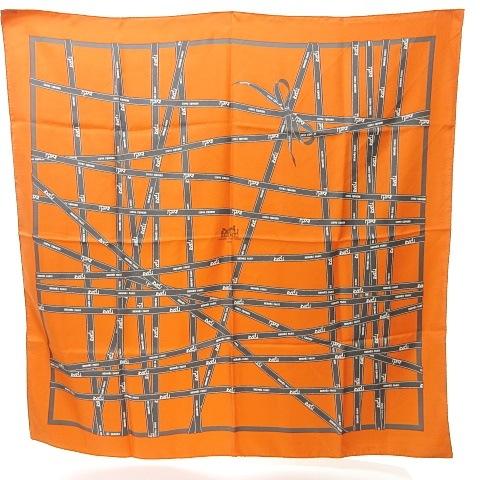 エルメス HERMES カレ90 シルク スカーフ BOLDUC ボルデュック リボン オレンジ グレー 灰 0709 KKK1 レディース