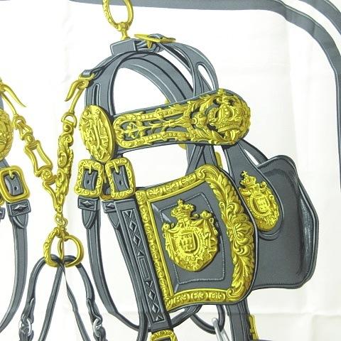 エルメス HERMES カレ90 シルク スカーフ BRIDES de GALA 式典用馬勒 ピンク 白 グレー 0709 KKK1 レディース