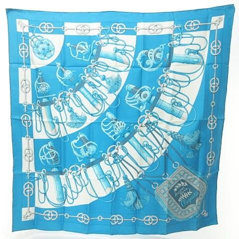 エルメス HERMES カレ90 シルク スカーフ cliquetis 剣柄 青 ブルー 水色 0709 KKK1 レディース