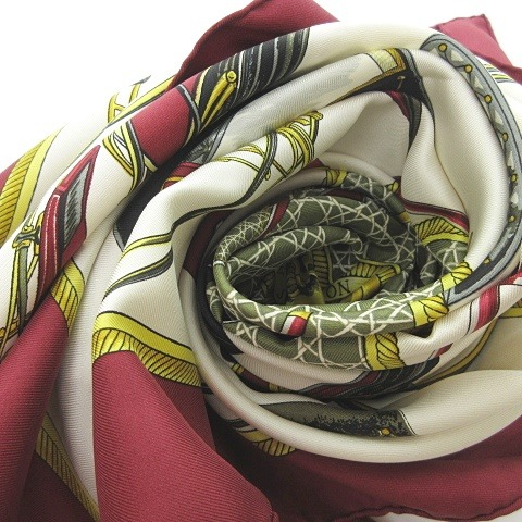 エルメス HERMES カレ90 シルク スカーフ 折りたたみ式幌馬車 LES VOITURES A TRANSFORMATION 赤 白 黄色 0709 KKK1 レディース