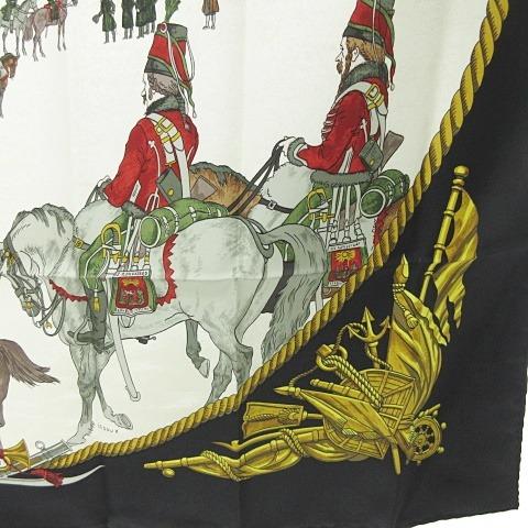 エルメス HERMES カレ90 シルク スカーフ MARINE ET CAVALERIE 海と騎兵隊 黒 白 金 0709 KKK1 レディース