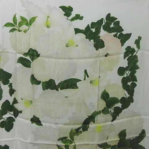 シャネル CHANEL シルク スカーフ 花柄 カメリア 椿 紫陽花 百合 白 ホワイト 0708 KKK1 レディース