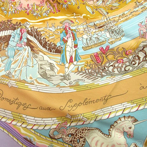 エルメス HERMES PER ASTRA AD ASTRA マリン カレ 90 シルク スカーフ 紫系 ラベンダー ベージュ マルチカラー 0710 レディース
