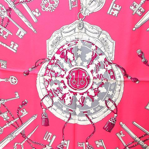 エルメス HERMES LES CLES 鍵柄 キー カレ 90 シルク スカーフ ピンク 0710 レディース