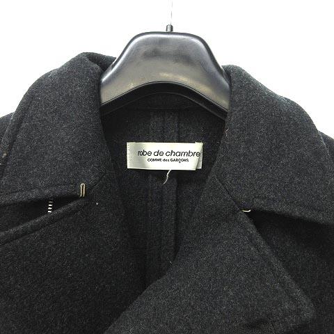 ローブドシャンブル robe de chambre ギャルソン メルトン ウール ダブル ライダース フレア AD2004 ダークグレー L 0714