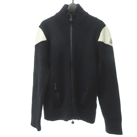 モンクレール MONCLER ジップアップ ニット セーター メリノウール 切替 白タグ 海外正規品 紺 ネイビー L 0525 メンズ