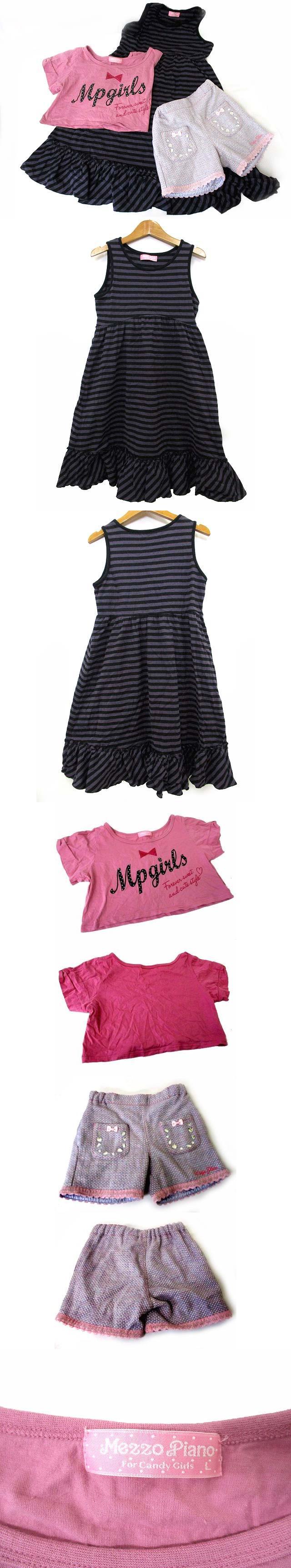 女の子用 3点 セット ワンピース Tシャツ ショートパンツ 紫 黒 ピンク L 140 キッズ 子供服 190218NM
