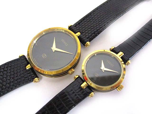1ae5326b4156 グッチ GUCCI ペア ウォッチ ラウンドフェイス クォーツ 腕時計 レザーバンド 黒文字盤 ジャンク 181103NM-9763B メンズ