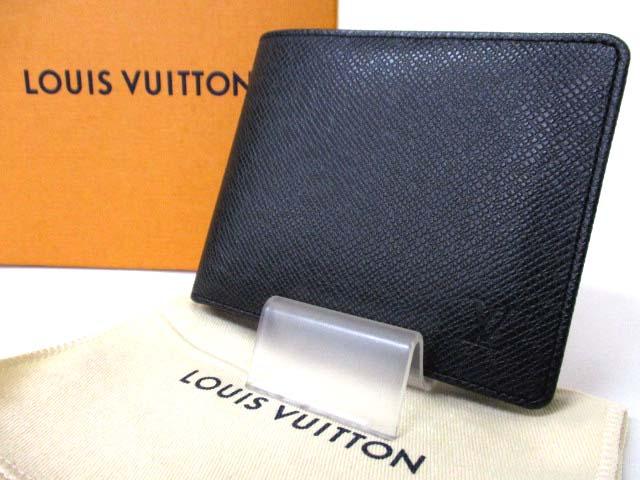 quality design 45e67 4d606 ルイヴィトン LOUIS VUITTON タイガ ポルトフォイユ フロリン イニシャル入り 二つ折り 財布 レザー ブラック 黒 M31112  190130OK01s メンズ