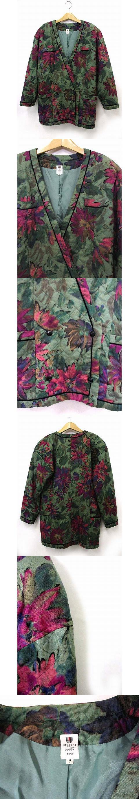 ノーカラー ジャケット 花柄 総柄 シルク 絹混 グリーン 緑系 9AR IBS11 アウター 190427MS14B