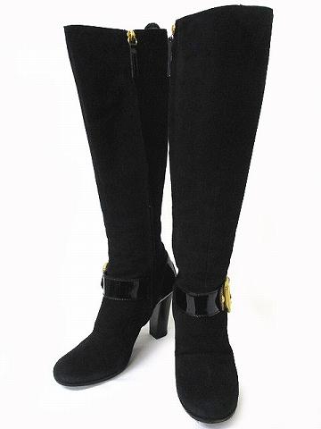 8d8918e551461c ... ザノッティデザイン GIUSEPPE ZANOTTI DESIGN ヒール ロング ブーツ アンクル ベルト スエード ブラック系 黒系 36  23.0 IBS11 シューズ 靴 190414NM2B レディース