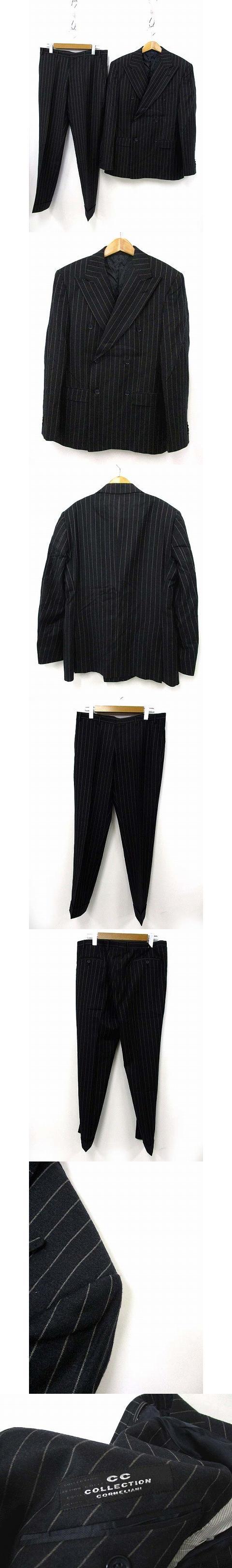 Cc Collection ストライプ スーツ セットアップ テーラード ジャケット スラックス パンツ ウール ブラック 黒 50 SSS2 190518MS14B