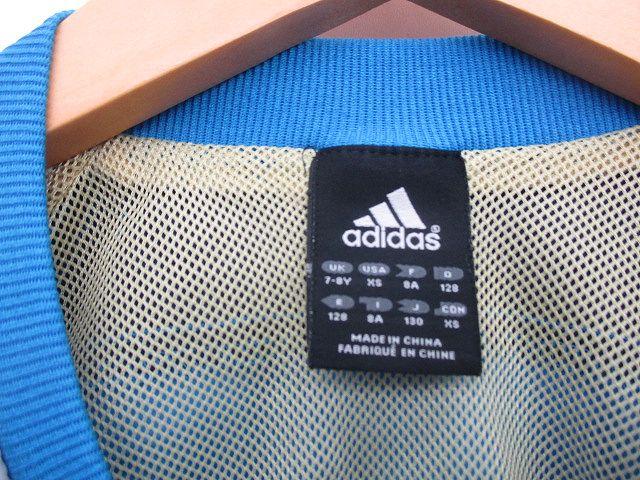アディダス adidas ピステ ナイロン ジャケト プルオーバー 130 青 グレー キッズ/l174