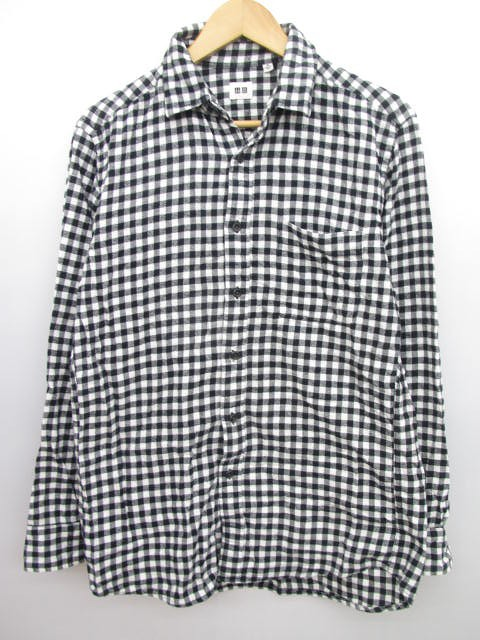 ユニクロ UNIQLO チェック 長袖 シャツ ネルシャツ 黒×紫 メンズ M/C115 メンズ