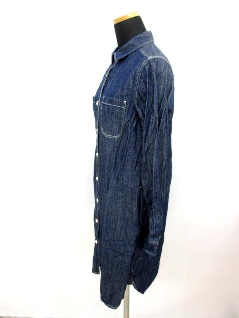 無印良品 良品計画 デニム シャツ ワンピース カットソー ネイビー M レディース/L151 レディース