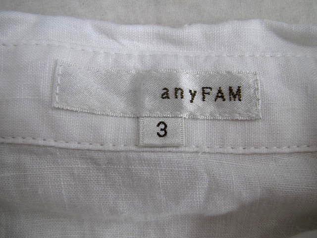 エニィファム anyFam リネン 麻 シャツ ブラウス カットソー ボタンダウン 無地 3 白 レディース/g83 レディース