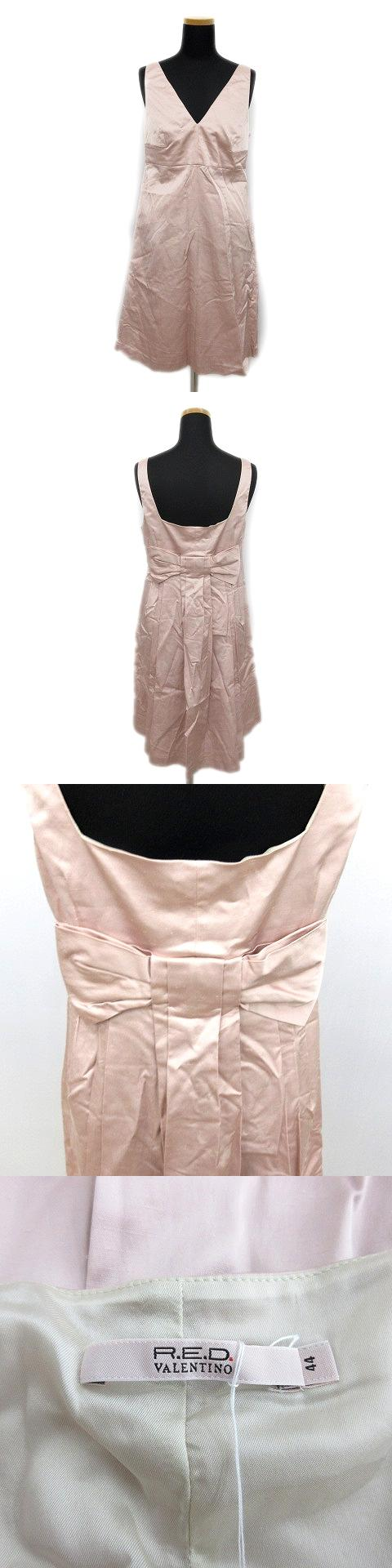 ノースリーブ バックリボン ワンピース ドレス カットソー 44 光沢 ピンク レディース◆4