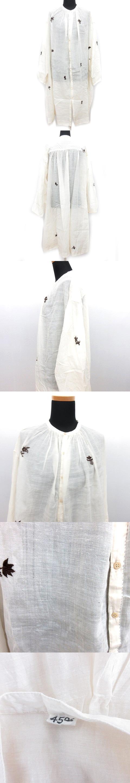 タッサーシルクカディの手刺繍 ドレス 8125029 シルク混 シャツ ワンピース カットソー 花 ヴィンテージ フラワー刺繍 スタンドカラー オーバーサイズ  アイボリー 白 レディース