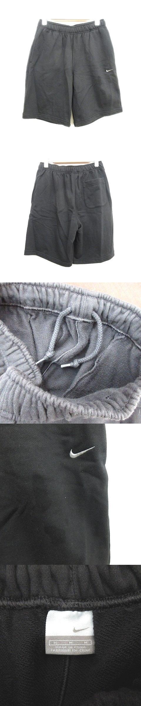 ハーフ パンツ スウェット ロゴ 刺繍 ウエストゴム M 黒 メンズ/Q60