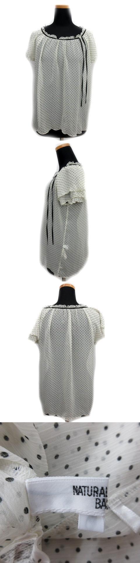 ドット ブラウス カットソー リボンフリル 薄手 半袖 白×黒 M レディース/C231