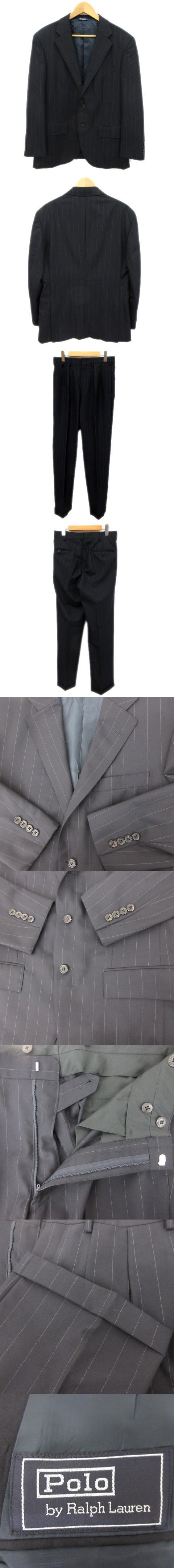 ウール100% ストライプ セットアップ スーツ ビジネス ジャケット スラックス パンツ ダブル ネイビー メンズ/M92